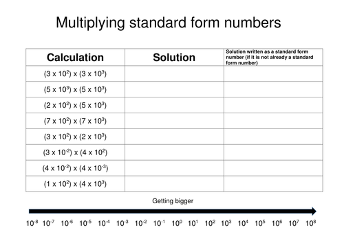 multiplying standard form numbers by eugenesmith teaching resources. Black Bedroom Furniture Sets. Home Design Ideas
