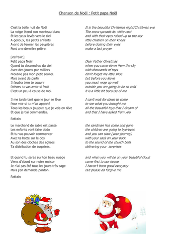 Chanson Joyeux Noel.Joyeux Noel By V Marzin Teaching Resources