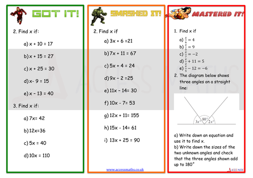 Level 56 Solving Equations by tomscambler Teaching Resources TES – Solving Linear Equations Worksheets