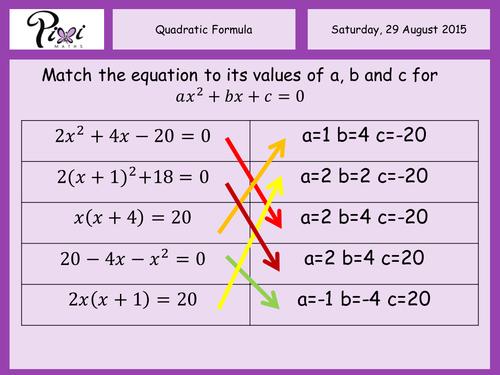 GCSE The Quadratic Formula Revision Worksheet by timcw – Quadratic Formula Worksheets
