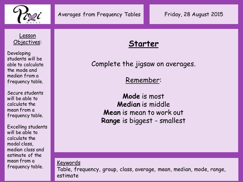 Averages from frequency tables by PixiMaths - Teaching Resources - TES