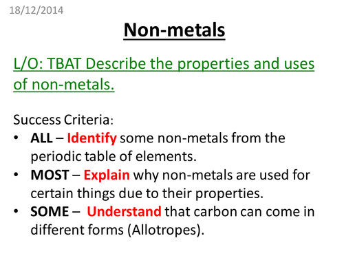 Non Metals By Pbrooks89 Teaching Resources