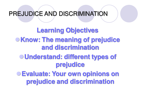 Prejudice and Discrmination PowerPoint