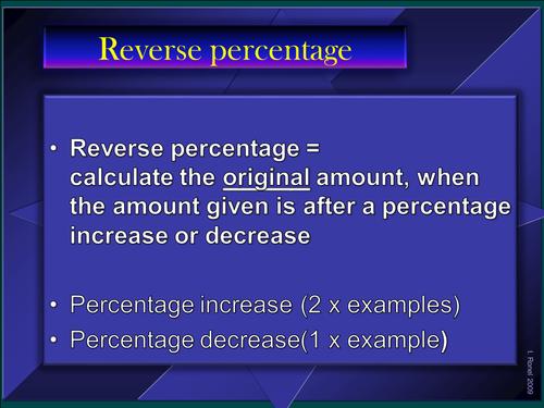 Reverse percentages - PowerPoint presentation