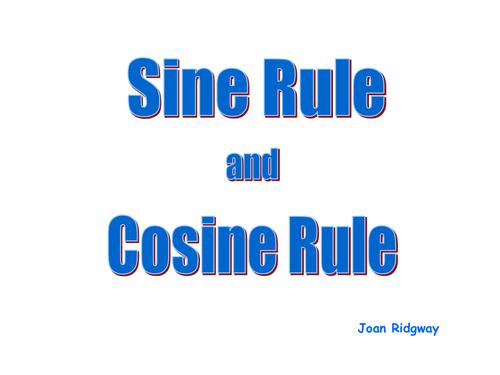 Sine and Cosine Rule