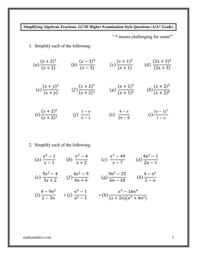 Algebraic Fractions, GCSE Higher A/A* with answers by hassan2008 ...