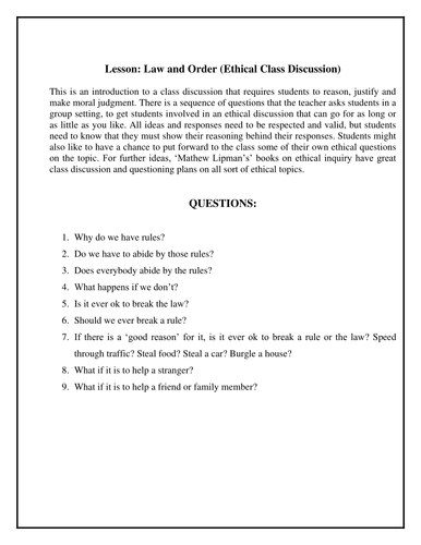 Ethical Discussion - Law and rules; is it ok to break them?