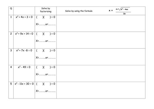 Handout for solving quadratics.