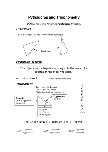 Pythagoras and Trigonometry Revision Worksheet. by DaveGale ...