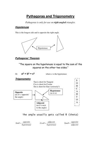 Pythagoras and Trigonometry review sheet