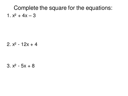 Algebra-Completing the square