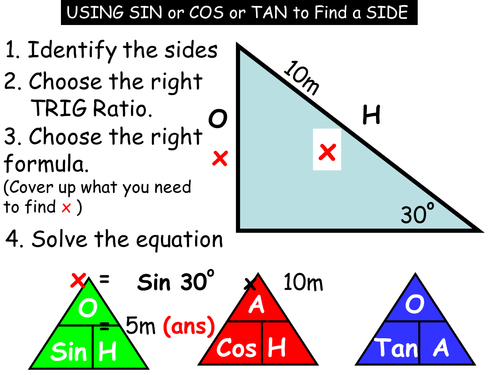 Using trigonometry ratios for Right-angled triangles