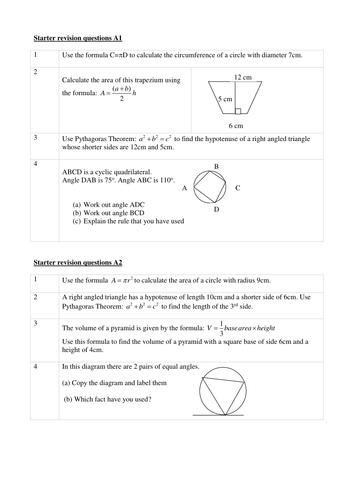 3 Starters + Homework