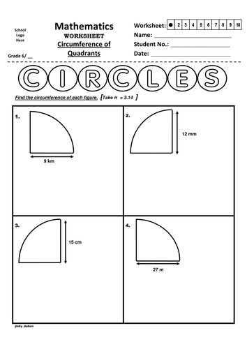 Grade 6 - Circumference of Quadrants (Handout)