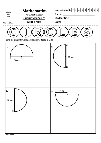 Grade 6 - Circumference of Half Circles (Handout)