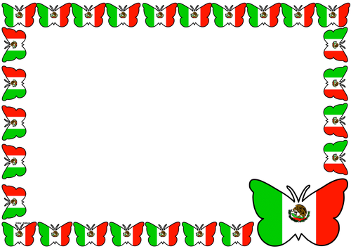 Mexico Flag Themed Lined paper and Pageborders