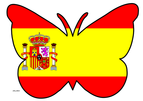 Butterfly Themed Spanish Flag