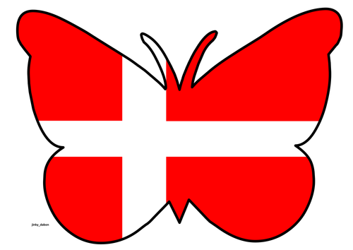 Butterfly Themed Denmark Flag