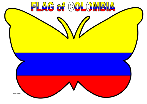Butterfly Themed Colombia Flag