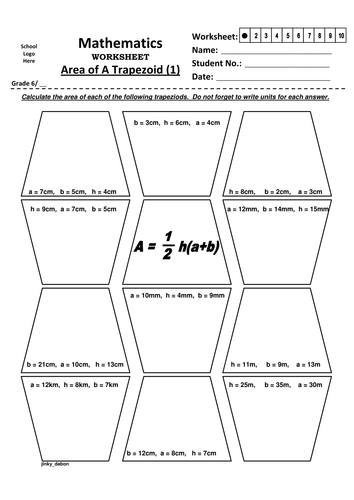Grade 6 – Area of a Trapezoid (1-3)