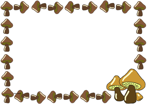 Mushroom Themed Lined Paper and Pageborders