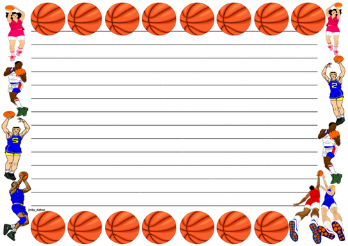 Basketball Themed Lined Paper and Pageborder