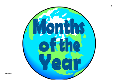 Earth Day Themed Months of the Year