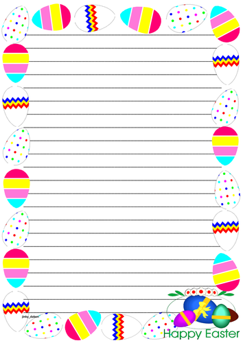 Easter Themed Lined Paper and Pageborders