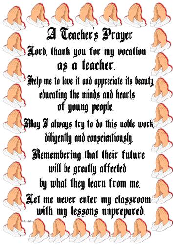 A Teacher's Prayer Poster