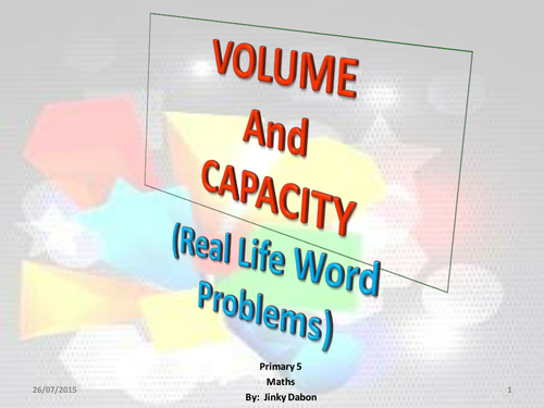 Volume of Cuboids and Capacity (Word Problems)
