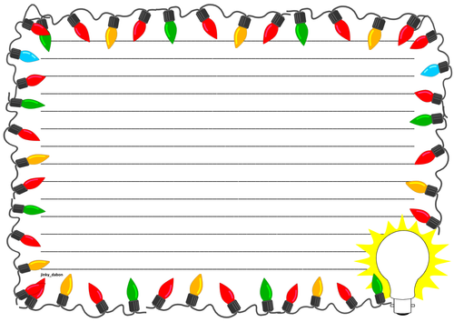Light Bulb Themed Lined Paper and Pageborders
