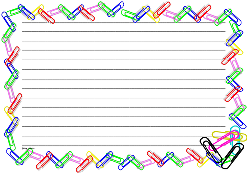 Paperclips Themed Lined Paper and Pageborders