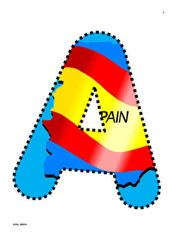 Spain Flag Themed Alphabet and Numbers