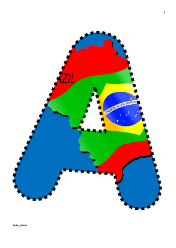 Brazil Flag Themed Alphabet and Numbers