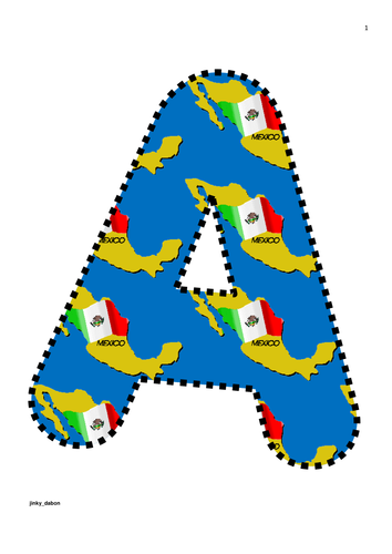 A4 Mexican Flag Themed Alphabet and Numbers