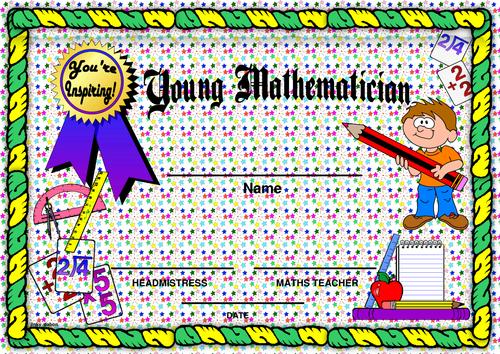 Young Mathematician Award Certificate