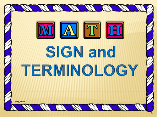 Maths Signs and Terminology