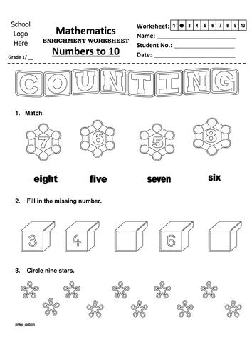 Grade 1 Numbers to 10 Worksheet 2