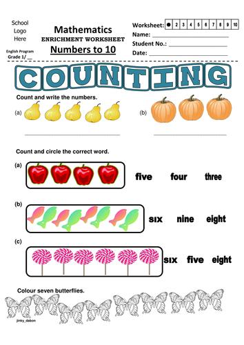 Grade 1 Numbers to 10 (Worksheet 1)