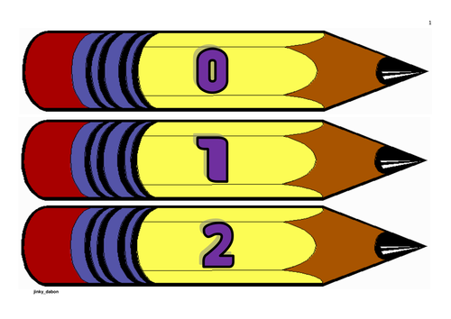 Pencil Themed Numbers from 0-100