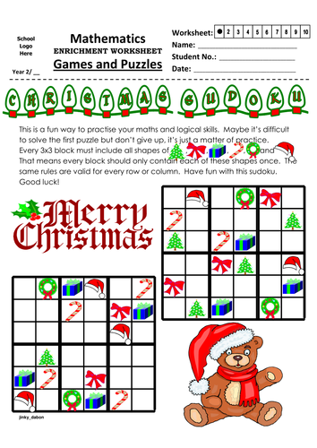 Christmas Themed Shape Sudoku (6x6)