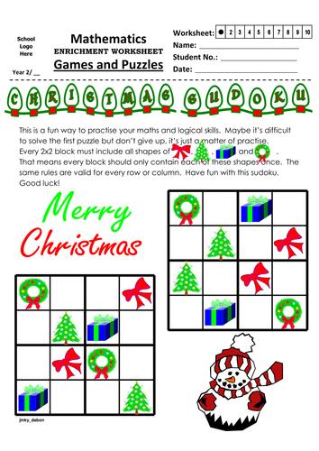 Christmas Themed Shape Sudoku (4x4) by jinkydabon - Teaching