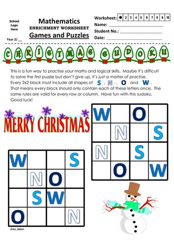 Christmas Themed Word Sudoku (4x4)