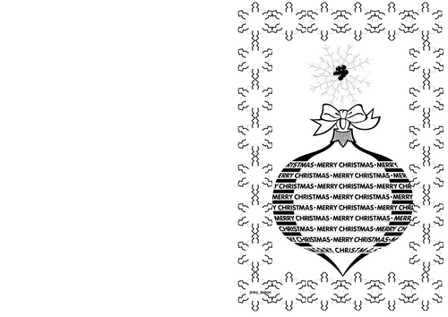 Christmas Day Themed Cards (BW)