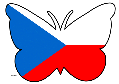Butterfly Themed Czech Republic Flag