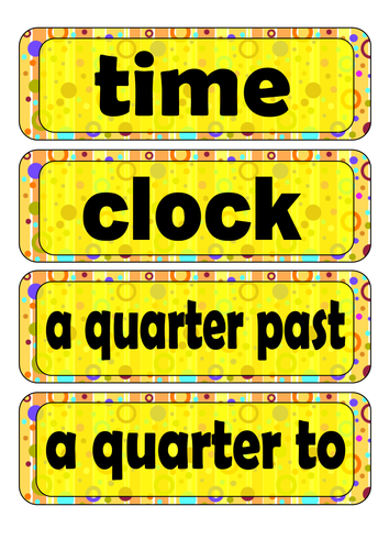 Grade 3 - Word Wall (Time)