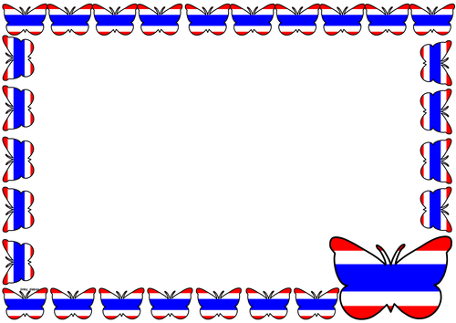 Thailand Flag Themed Lined paper and Pageborders