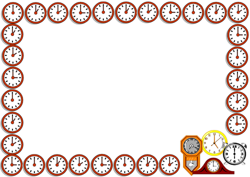 Face of the Clock Lined Paper and Pageborders