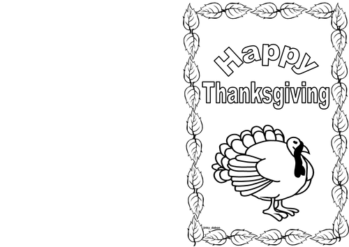 Thanksgiving Day Themed Card (BW)