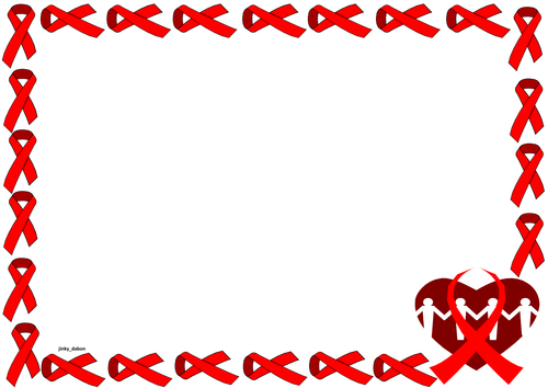 Red Ribbon Themed Lined Paper and Pageborders